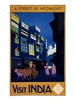 Visit India, a street by moonlight, travel poster 1920 Fine Art Print