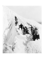 Group of men and women climbing Paradise Glacier in Mt. Rainier National Park, Washington Fine Art Print