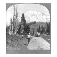 Washington - Mount Rainier - resting at Camp Muir, before Gibralter Rock 1922 Fine Art Print