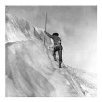 Washington - Mount Rainier Guide cutting steps on ice slope near summit Fine Art Print