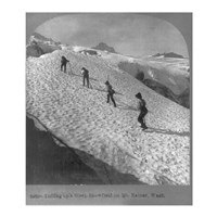 Washington - Mount Rainier Toiling up a steep snowfield Fine Art Print