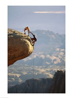 Two hikers with ropes at the edge of a cliff 2 - various sizes, FulcrumGallery.com brand