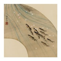 Fan-shaped drawing of fish swimming upstream - various sizes
