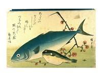 Hiroshige A Shoal of Fishes Fugu Yellowtail Fine Art Print