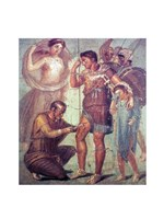 The doctor Japyx heals Aeneas, sided by aphrodite mural from Pompeii - various sizes