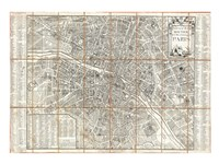 1780 Esnauts and Rapilly Case Map of Paris Fine Art Print
