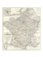 1852 Levasseur Map of France Fine Art Print