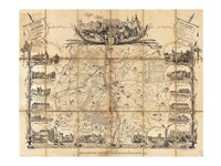 1865 Madeleine Map Pocket Map of Vichy, France, 1865 - various sizes