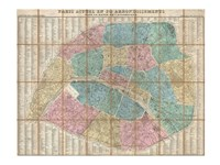 1867 Logerot Map of Paris, France Fine Art Print