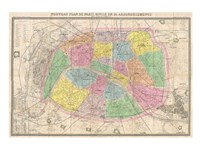 1867 colored Logerot Map of Paris, France Fine Art Print
