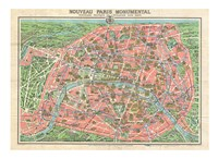 Map of Paris circa 1931 including monuments Fine Art Print