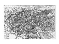 Paris bird's eye view 17th century Fine Art Print