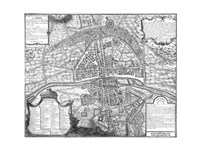 Plan de Paris - black and white map Fine Art Print