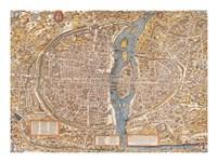 Plan de Paris map Fine Art Print