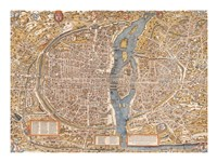 Plan de Paris map Fine Art Print