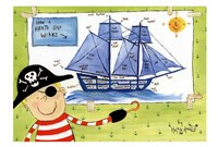"How a Pirate Ship Works by Helen Doodle - 17"" x 12"""