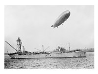 U.S.S. Patoka and Shenandoah Blimp Overhead - various sizes