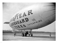 Goodyear Blimp at Washington Air Post, 1938 Framed Print
