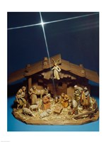 Close-up of figurines depicting a nativity scene Fine Art Print