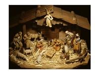 Close-up of figurines depicting a nativity scene Fine Art Print