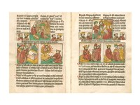 Spread from the Biblia Pauperum printed by Albrecht Pfister Fine Art Print