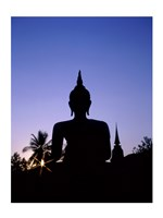 Silhouette of Buddha and temple during sunset, Sukhothai, Thailand - various sizes, FulcrumGallery.com brand