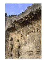 Buddha Statue Carved on a wall, Longmen Caves, Luoyang, China Framed Print