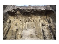 Buddha Statue Carved on a wall, Longmen Caves,  ground view in China Framed Print