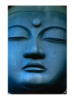Close-up of the face of a Buddha Statue, Tokyo, Honshu, Japan Framed Print
