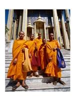 Group of monks, Wat Phra Kaeo Temple of the Emerald Buddha, Bangkok, Thailand Fine Art Print