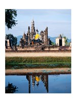 Silhouette of the Seated Buddha Reflected, Wat Mahathat, Sukhothai, Thailand - various sizes, FulcrumGallery.com brand