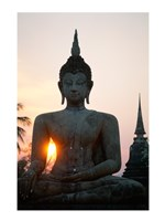 Seated Buddha at Sunset, Wat Mahathat, Sukhothai, Thailand Framed Print