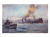 U-boat Sinking a Troop Transport Ship - various sizes