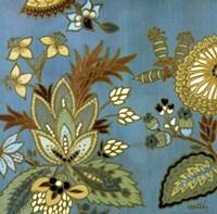 """European Floral on Teal I by Lanie Loreth - 24"""" x 24"""""""