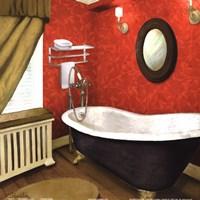 Red Farmhouse Bath I Fine Art Print