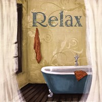 """Relax - Blue Tub by Hakimipour - Ritter - 12"""" x 12"""", FulcrumGallery.com brand"""
