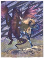 Dragon and Blue Knight Fine Art Print