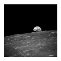 The first photograph taken by humans of Earthrise during Apollo 8. Framed Print