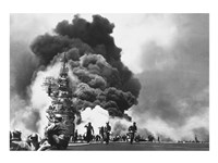 USS Bunker Hill Hit by Two Kamikazes Fine Art Print