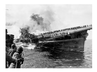 Attack on Carrier USS Franklin March 1945 Fine Art Print