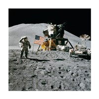 Apollo 15 Lunar Module Pilot James Irwin Salutes the U.S. Flag Framed Print