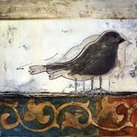 birds on damask II Framed Print