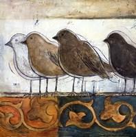 birds on damask I Framed Print
