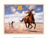 """Flying Kite with Friends by Jack Sorenson - 10"""" x 8"""""""