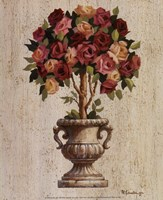 "Pink and Red Rose Topiary by Maxine Johnston - 8"" x 10"""