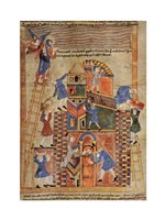 Illustration to the Old English Illustrated Hexateuch showing the construction of the Tower of Babel. Fine Art Print