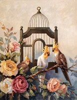 Cockatiel and Roses Fine Art Print
