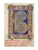 Illuminated Manuscript, Psalter. Inhabited Initial B of Psalm 1 Fine Art Print