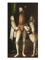 Emperor Carlos V with a Dog Fine Art Print