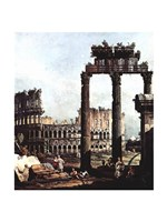 Colosseum and the ruins of the Temple of Castor et Pollux Fine Art Print